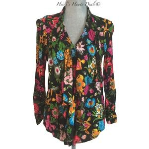 11-1-Tylho Black Floral Flyaway Ruffle Blouse M